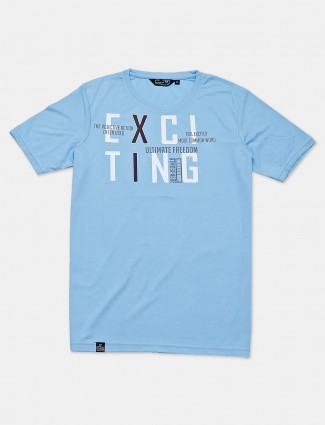 Freeze blue cotton slim fit mens t-shirt