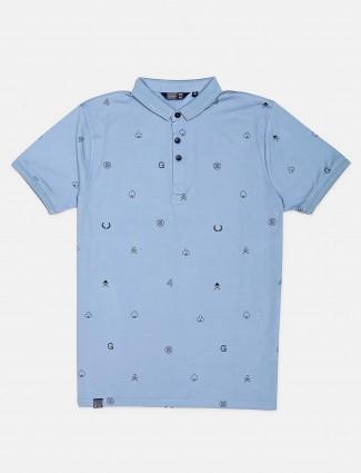 Freeze blue printed cotton polo t-shirt