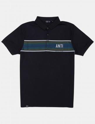 Freeze dark blue printed cotton mens t-shirt