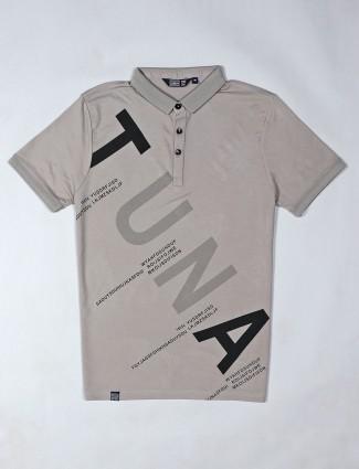 Freeze grey printed cotton man t-shirt