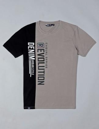 Freeze grey printed cotton mens t-shirt