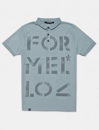 Freeze grey printed slim fit cotton polo t-shirt