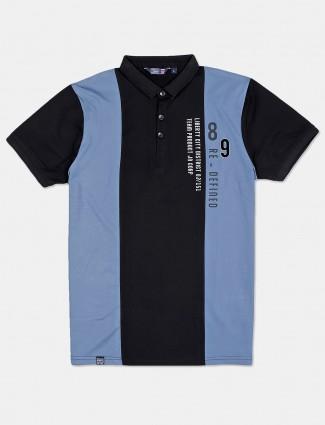 Freeze half sleeves blue printed polo t-shirt