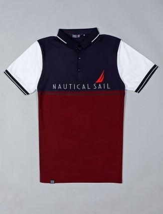 Freeze half sleeves maroon printed polo t-shirt