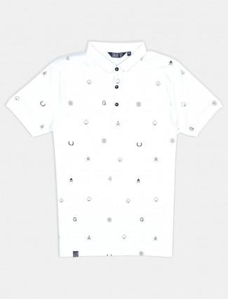Freeze half sleeves white printed polo t-shirt