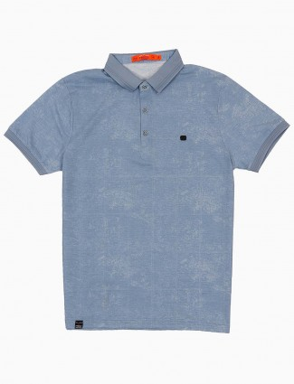 Freeze light blue solid cotton t-shirt