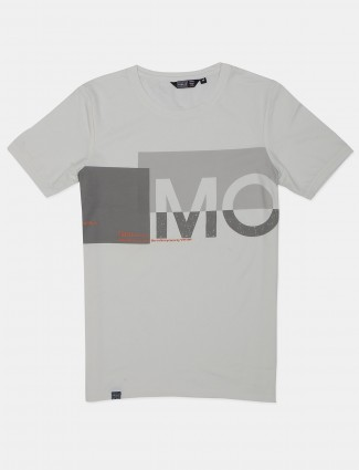 Freeze off white slim fit cotton printed t-shirt