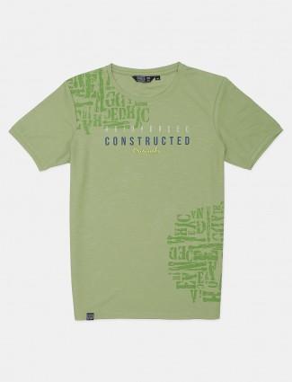 Freeze pista green printed cotton mens t-shirt