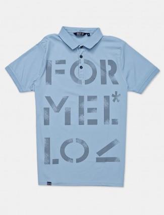 Freeze printed blue polo t-shirt