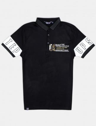 Freeze solid black slim fit cotton printed t-shirt