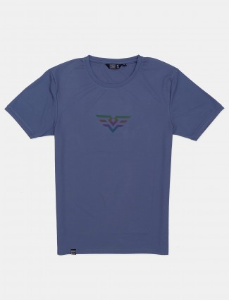 Freeze solid blue cotton casual t-shirt