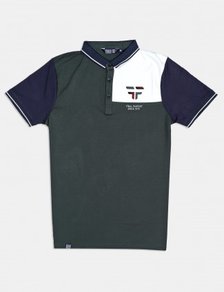 Freeze solid dark green cotton mens polo t-shirt
