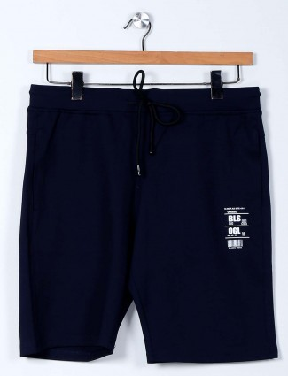 Freeze solid navy cotton lycra shorts