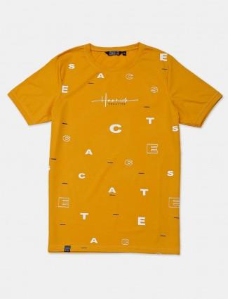 Freeze yellow printed cotton t-shirt