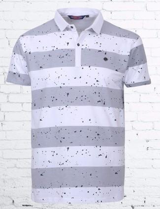 Freezee grey white cotton stripe pattern t-shirt
