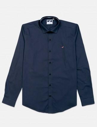 Frio blue cotton slim fit shirt