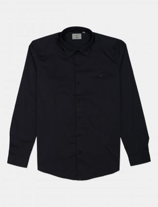 Frio solid dark grey cotton mens shirt