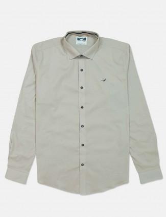 Frio solid pista green slim collar cotton shirt