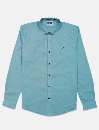 Frio teal green solid cotton shirt