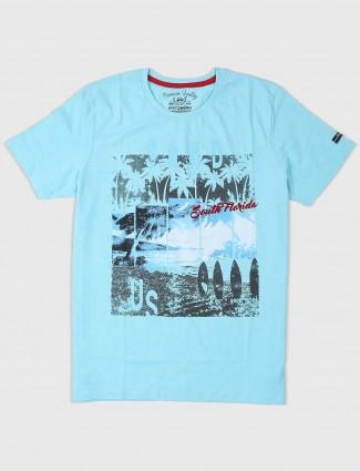 Fritzberg aqua printed casual wear t-shirt