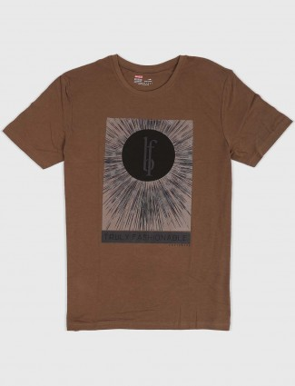 Fritzberg brown casual wear printed t-shirt