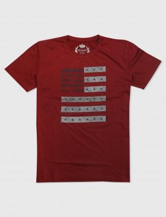 Fritzberg maroon printed hued cotton t-shirt