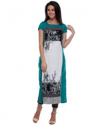 G3 Exclusive green gray printed rayon cotton  casual kurti