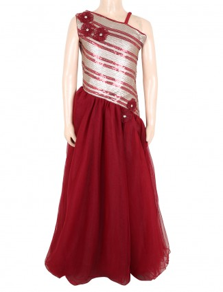 G3 Exclusive party wear maroon net girls gown