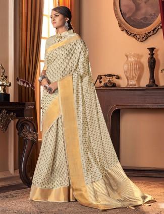 Gallant cream cotton silk festive wear sari