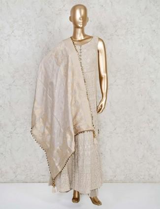Georgette beige designer anarkali palazzo suit