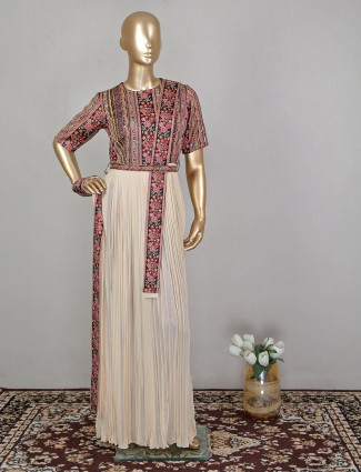 Georgette cream gown for wedding event