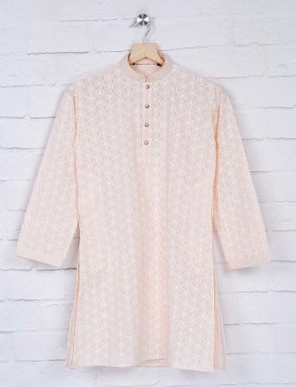 Georgette fabric peach color kurta suit