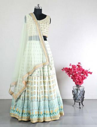 Georgette green wedding wear lehenga choli