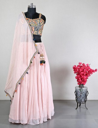 Georgette pink wedding lehenga choli for women