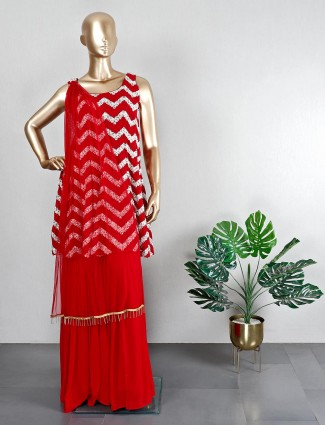 Georgette red sharara suit for wedding