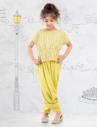 Georgette yellow party peplum dhoti suit