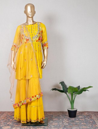 Georgette yellow wedding sharara suit
