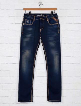 Gesture navy washed denim jeans for mens