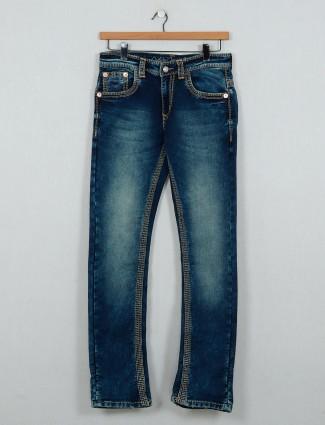 Gesture washed blue slim fit men jeans
