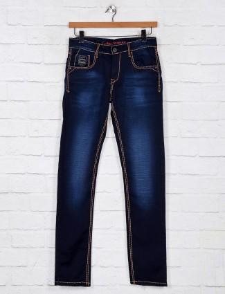 Gesture washed dark blue denim slim fit jeans