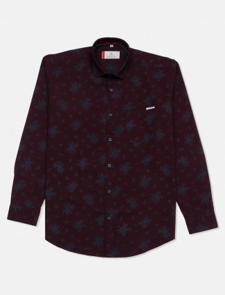 Gianti mint maroon printed casual shirt