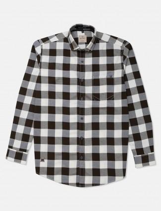 Gianti olive and white checks cotton shirt