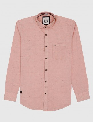 Gianti peach hued solid patch pocket shirt