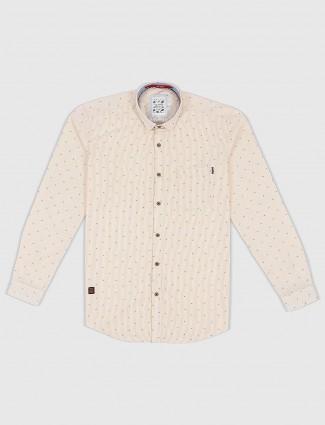 Gianti printed cream hued shirt