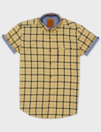 Gianti yellow checks pattern shirt