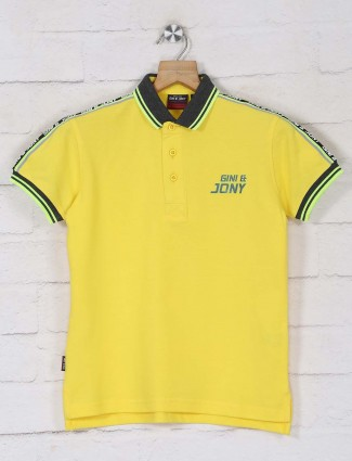 Gini & jiny solid yellow polo t-shirt