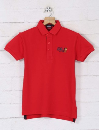 Gini & jony red solid cotton casual boys polo neck t-shirt