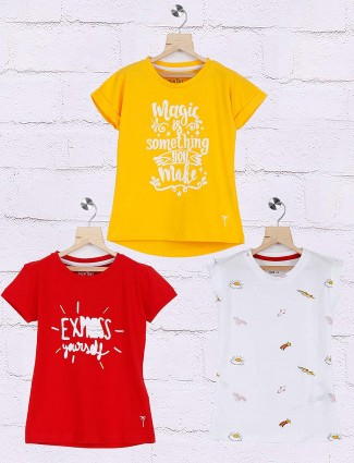 Gini and Jony white,yellow,red printed pack of 3 top