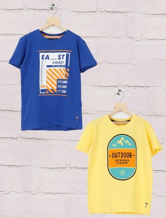 Gini and Jony yellow and royal blue pack of 2 t-shirt