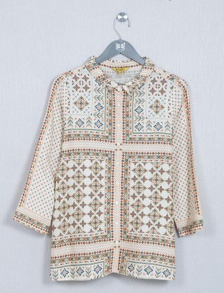 Global Desi beige cotton casual top
